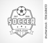 soccer emblem line icon on... | Shutterstock .eps vector #506168653