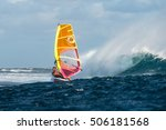 windsurfer rides among the huge ... | Shutterstock . vector #506181568