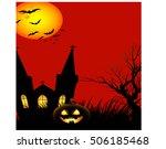 halloween background happy... | Shutterstock .eps vector #506185468