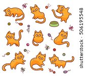 set of funny red cats and cat's ... | Shutterstock .eps vector #506195548