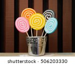 Five Lollipops Stacked In A...