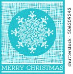 blue merry christmas card with... | Shutterstock .eps vector #506209243