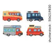 camping trailer truck vehicle... | Shutterstock .eps vector #506219830