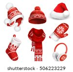 winter clothes. santa stocking... | Shutterstock .eps vector #506223229