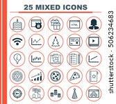 set of 25 universal editable... | Shutterstock .eps vector #506234683