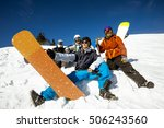 group friends snowboarders sits ... | Shutterstock . vector #506243560