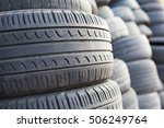 a pile of old used tires | Shutterstock . vector #506249764