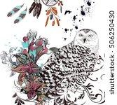 art bo ho background with owl ... | Shutterstock .eps vector #506250430