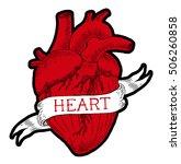 human heart engraving...   Shutterstock .eps vector #506260858