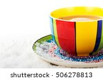 hot chocolate in a bright and... | Shutterstock . vector #506278813