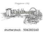 sketch city scape of singapore... | Shutterstock .eps vector #506283160