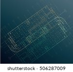technical engineering drawing... | Shutterstock .eps vector #506287009