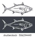 tuna fish engraving  vector... | Shutterstock .eps vector #506294449