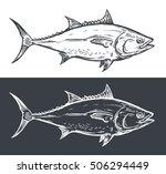 Tuna Fish Engraving  Vector...