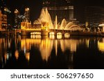 dubai fountain show at night ... | Shutterstock . vector #506297650