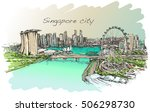 Sketch City Scape Of Singapore...
