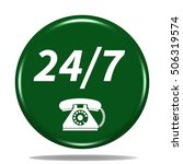 24 7 support phone icon.... | Shutterstock . vector #506319574