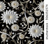 Floral Damask Vector Seamless...