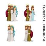 mary joseph and jesus cartoon... | Shutterstock .eps vector #506356453