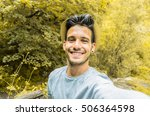 handsome traveller man taking a ... | Shutterstock . vector #506364598