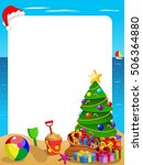 xmas vertical frame at tropical ... | Shutterstock .eps vector #506364880