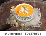 cream soup of pumpkin with... | Shutterstock . vector #506378536