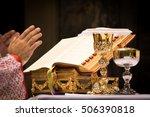 chalice and ciborium on the... | Shutterstock . vector #506390818