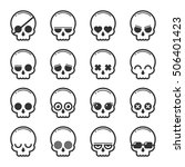 set of skull heads cartoon  | Shutterstock .eps vector #506401423