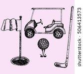 golf equipment set doodle style ... | Shutterstock . vector #506413573
