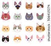 cat face set on white background | Shutterstock .eps vector #506415274