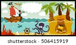 pirate in search of treasure | Shutterstock .eps vector #506415919