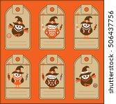 collection of six halloween... | Shutterstock .eps vector #506437756
