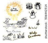 set of cute xmas theme doodle... | Shutterstock .eps vector #506442514