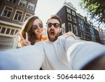 happy young couple in love... | Shutterstock . vector #506444026