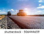sunset above the road roller... | Shutterstock . vector #506444659