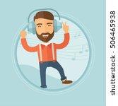 a joyful caucasian hipster man... | Shutterstock .eps vector #506465938