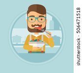 man eating healthy vegetable... | Shutterstock .eps vector #506471518
