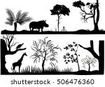 set of silhouettes of nature... | Shutterstock .eps vector #506476360