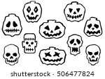 Set Of Cartoon Halloween Desig...
