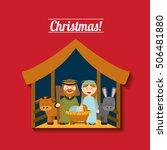 happy merry christmas manger... | Shutterstock .eps vector #506481880