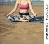 yoga meditation concentration... | Shutterstock . vector #506482510