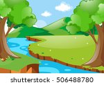 scene with river in the woods... | Shutterstock .eps vector #506488780