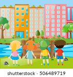 kids standing in the park... | Shutterstock .eps vector #506489719