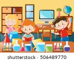 kids learning in science... | Shutterstock .eps vector #506489770