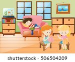 girl sewing and boy napping in... | Shutterstock .eps vector #506504209