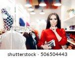 elegant woman keeping a secret... | Shutterstock . vector #506504443