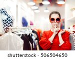 shopping with big sunglasses... | Shutterstock . vector #506504650