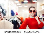 elegant woman with big... | Shutterstock . vector #506504698