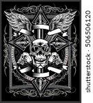 vintage label. skull and ornate ...   Shutterstock .eps vector #506506120