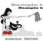 sports girl with flag | Shutterstock .eps vector #50651404